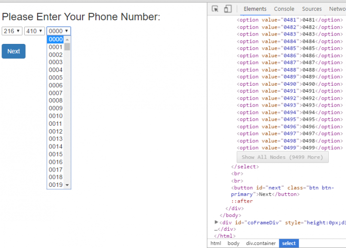 Please select your phone number from the drop down list