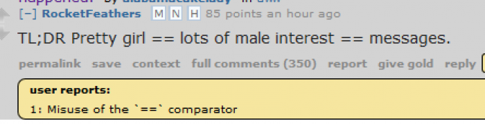 Misuse of the '==' comparator