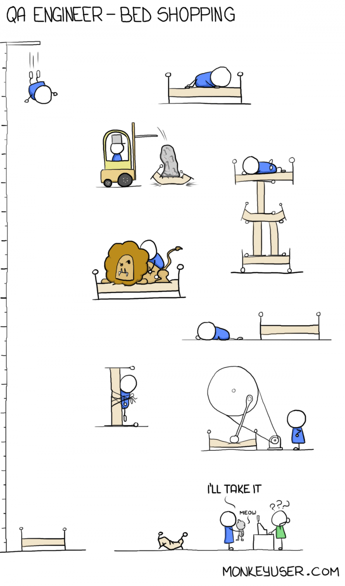 [monkeyuser] QA Engineer Bed Shopping