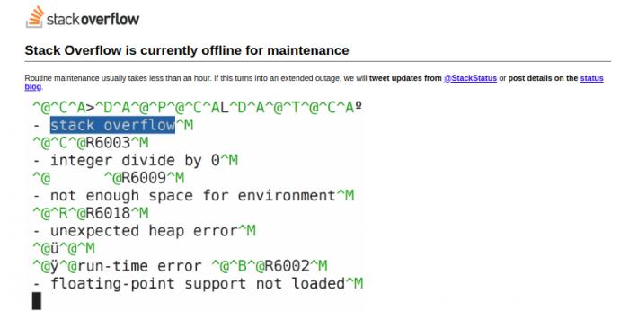 Stack overflow has been overflowed