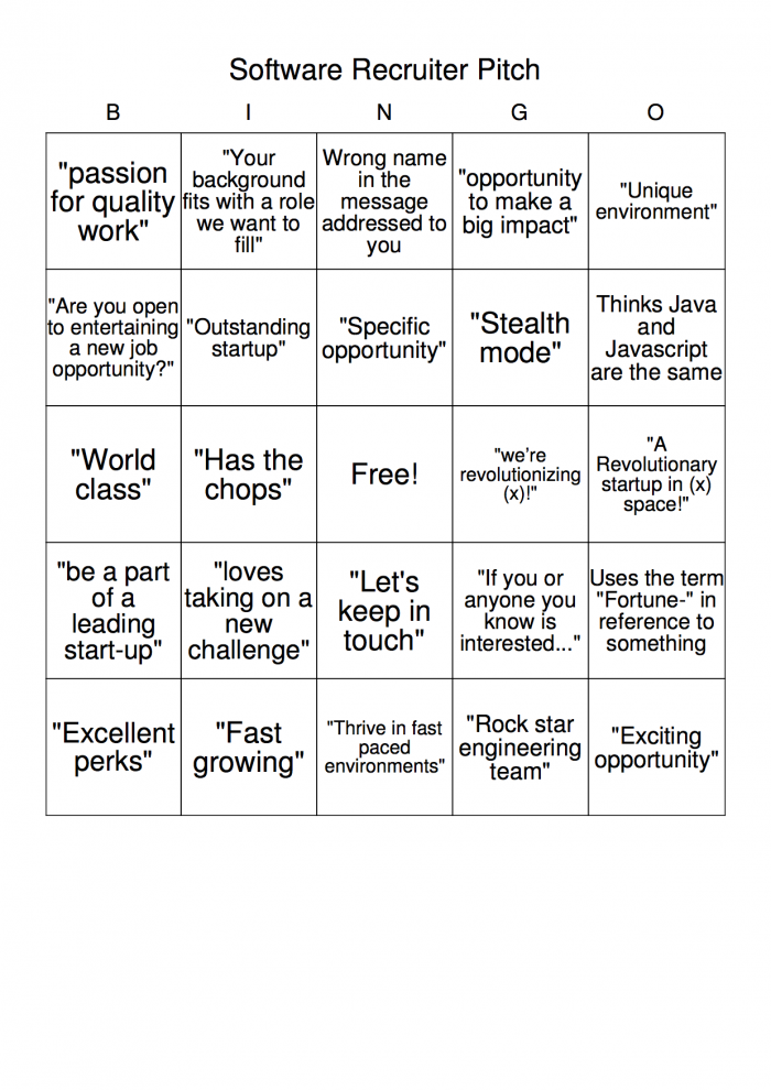 I made a bingo board for software recruiter pitches