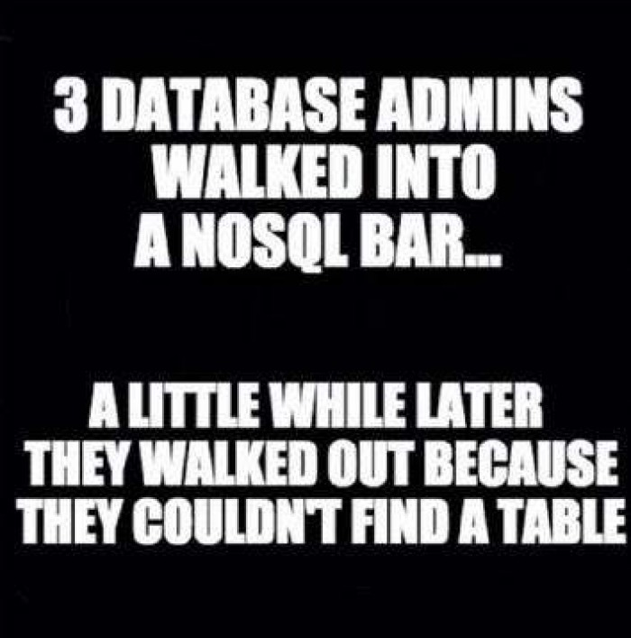 Best no SQL, real life joke I know;