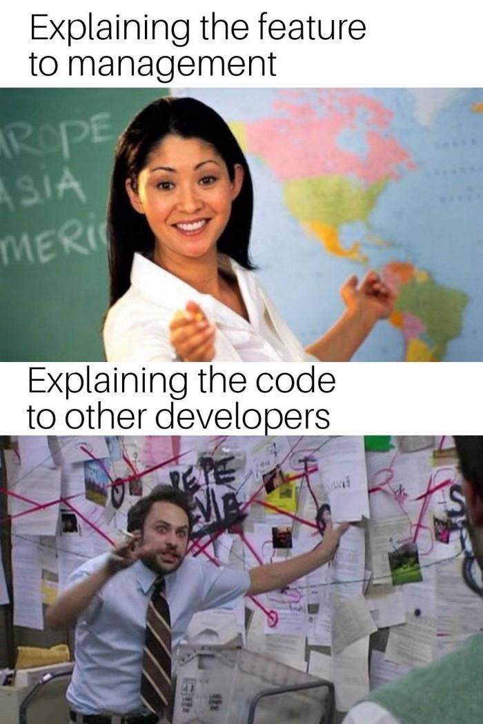Explaining to devs vs managers