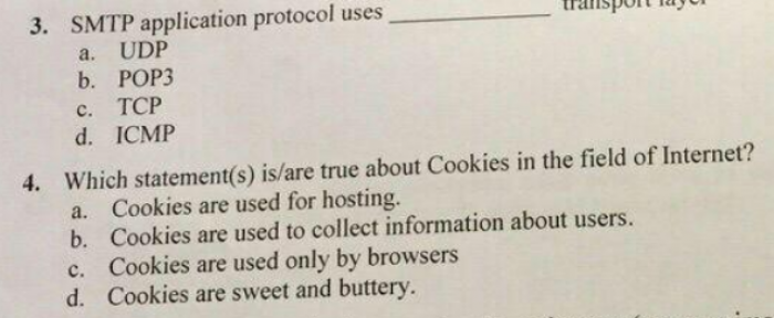 From my last Computer Networks exam.
