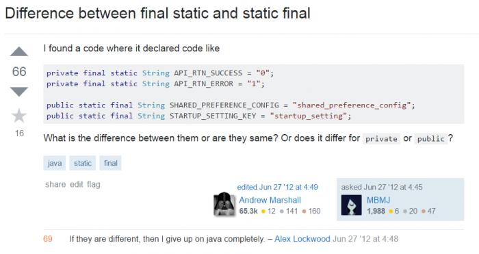 Final static or static final?