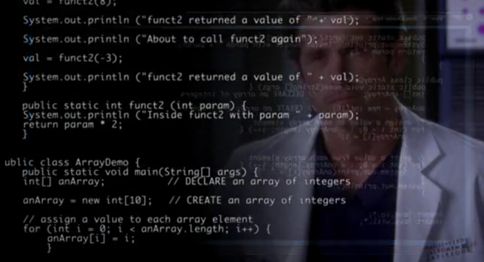 Watching Grey's anatomy when I saw the code that is running on a robotic arm prosthesis.