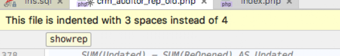 This file is indented with 3 spaces instead of 4.