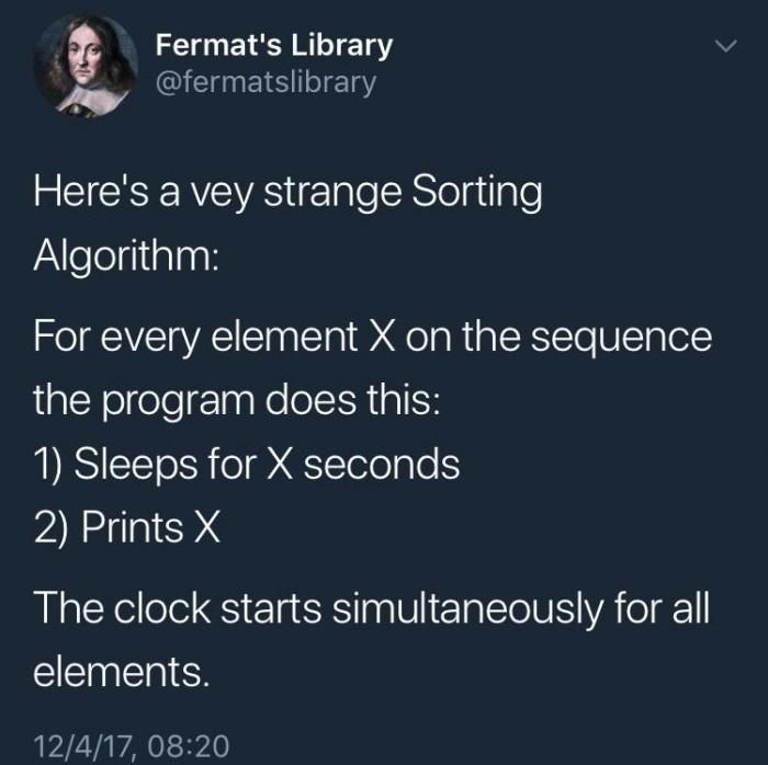 Here's a very strange Sorting Algorithm: