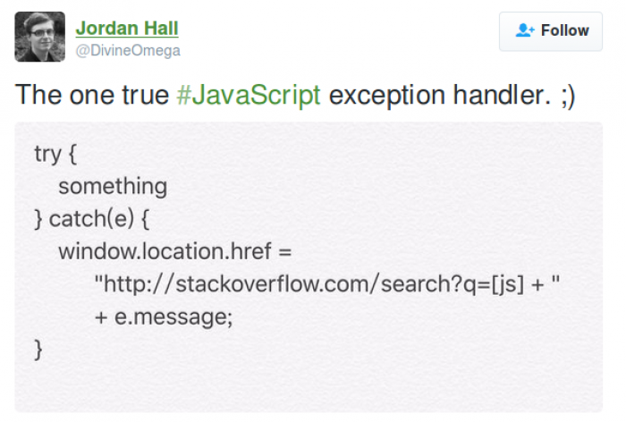 The one true #JavaScript exception handler. ;)