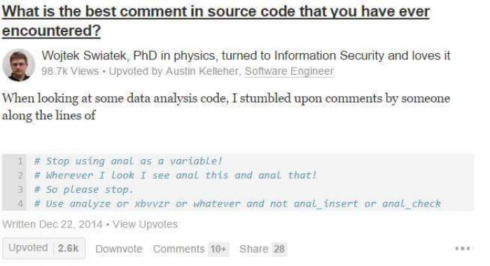 So I just found this on fb. Best comment in a source code.