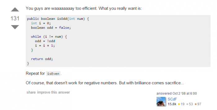 Stackoverflow explains how to check if a number is odd or even in C