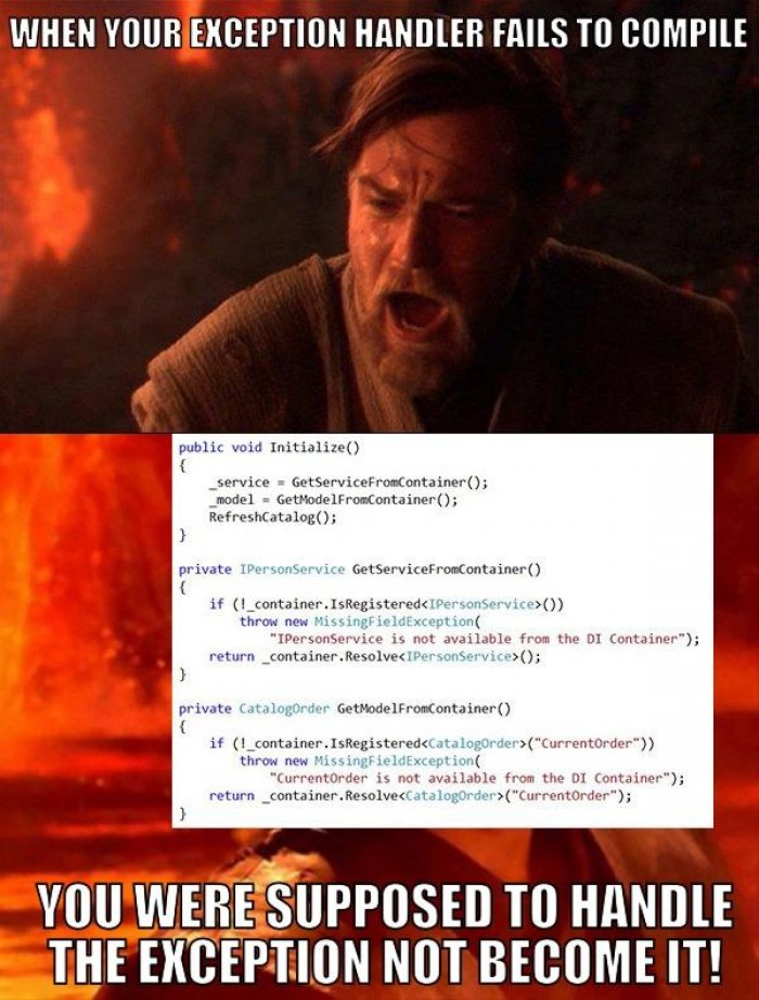 When your exception handler fails to compile