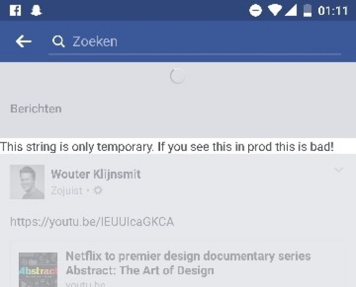 Dear Facebook. I saw it in prod. Is that bad?