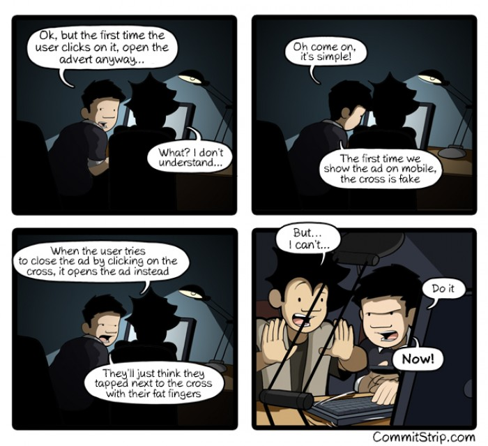 [commitstrip] The dark side of coding: The cross