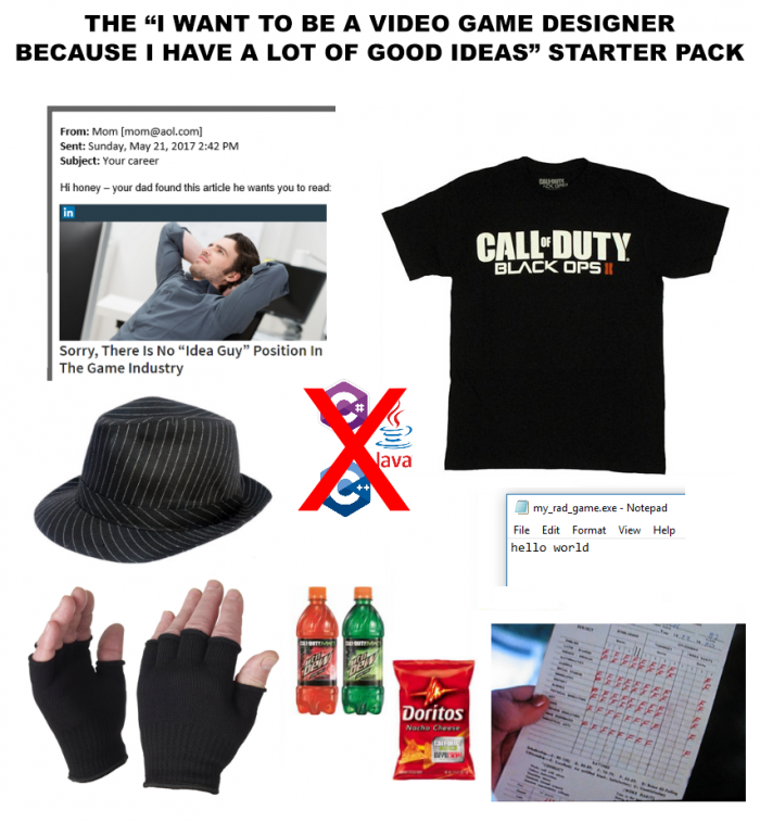 "The ""I want to be a video game designer because I have a lot of good ideas"" starter pack"