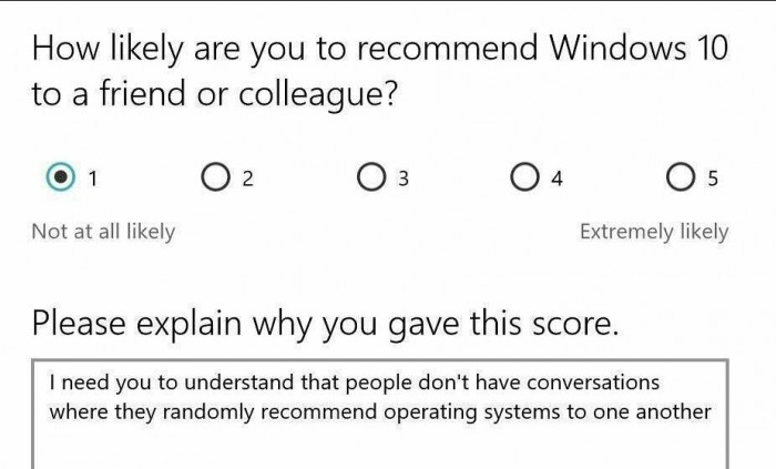 How likely are you to recommend Windows 10 to a friend or colleague?