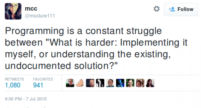Programming is a constant struggle between...