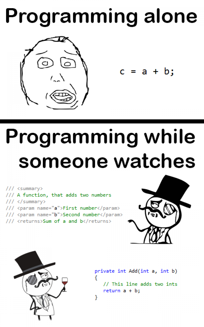 Coding while someone is watching