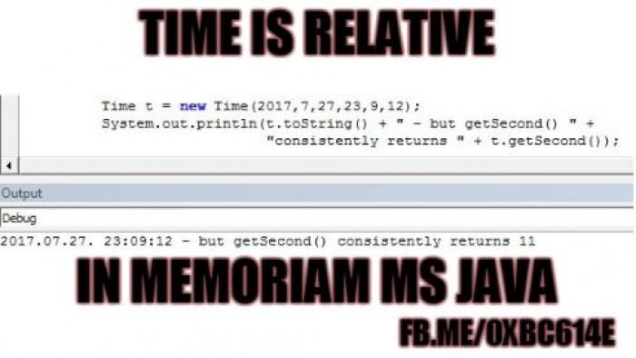 Time is Relative ... In memoriam MS Java