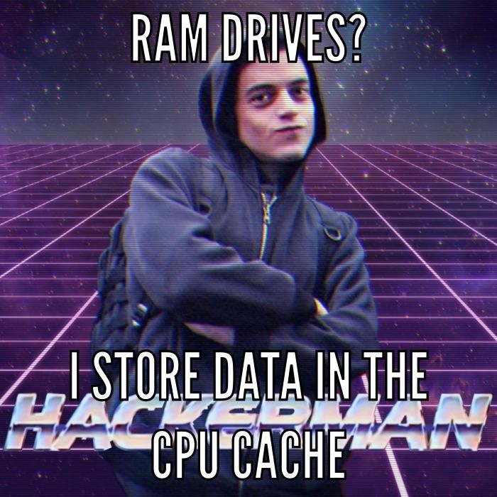 Hard drives? RAM Drives? For ultimate speeds just store your data in the CPU!