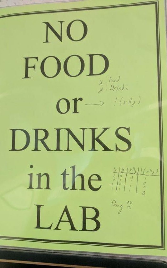 no food OR drinks in the lab