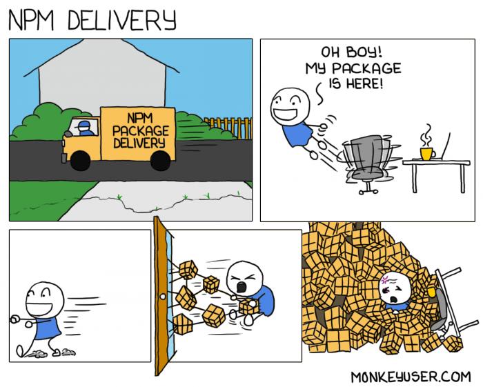 [monkeyuser] NPM package delivery
