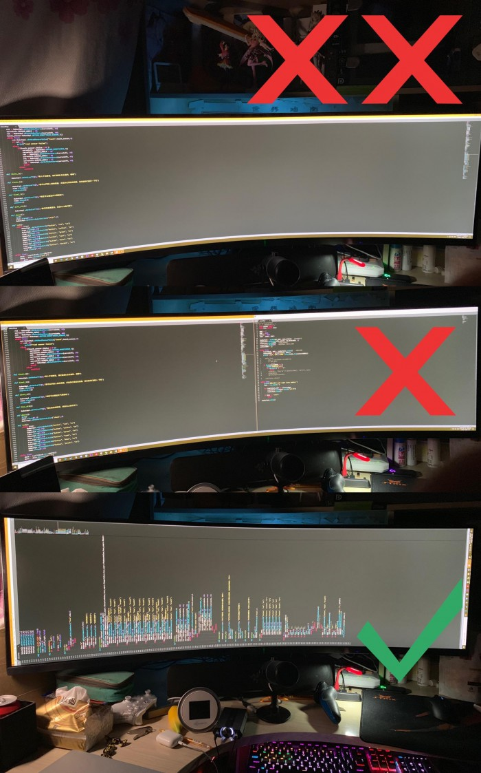 how to write long codes with a ultra-wide monitor correctly