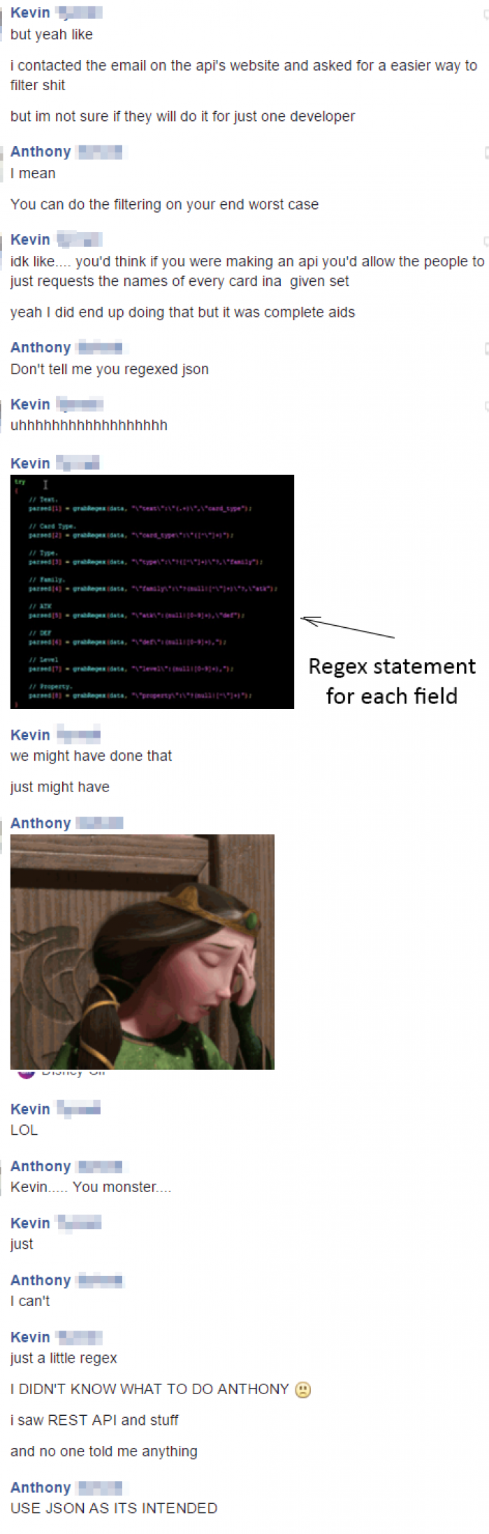 My tutor was not happy when I used regex to parse through JSON