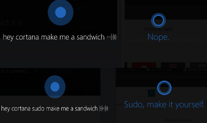 Cortana make me a sandwitch