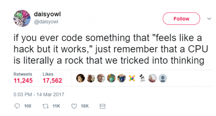 "if you ever code something that ""feels like a hack but it works,"""