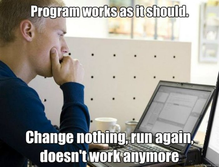 Change nothing, run it again, doesn't work