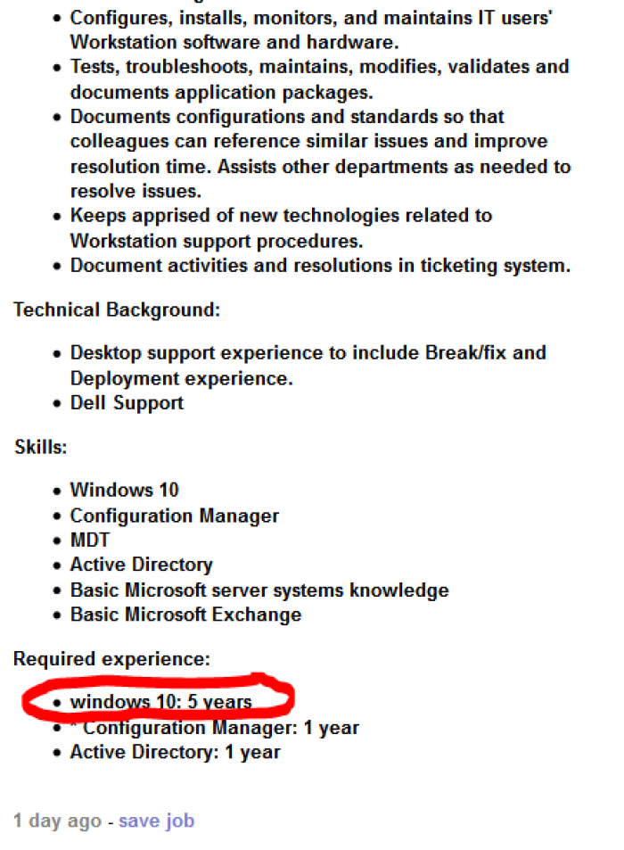 5 years experience of windows 10 needed