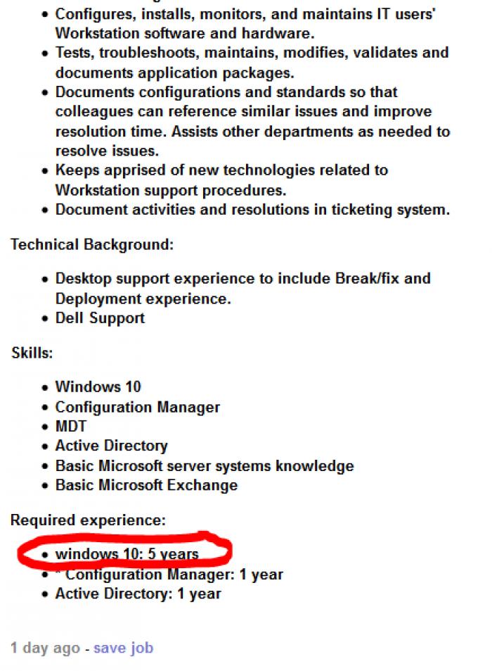 5 years experience of windows 10 needed