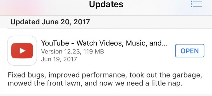YouTube's update message