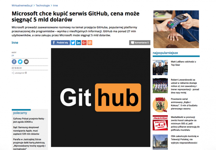 Polish media & tech website just published news with this Github logo. Looks familiar?