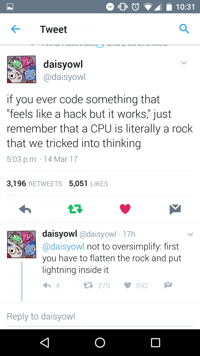 "If you ever code something that ""feels like a hack but it works"""