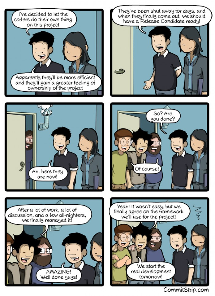[commitstrip] When we leave coders to do their own thing