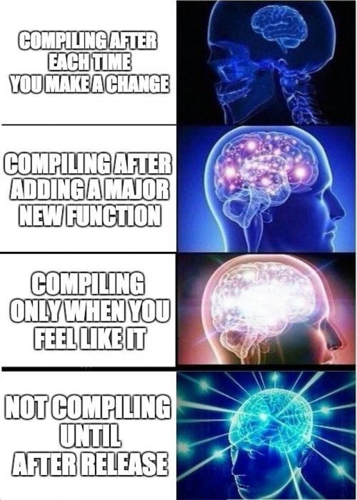 If you don't compile, you won't get any errors...