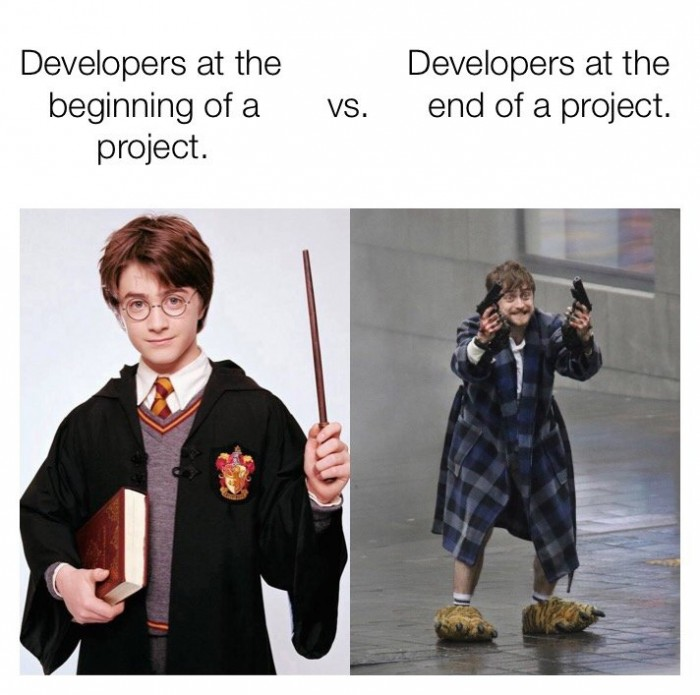 Developers at the beginning of a project vs the end