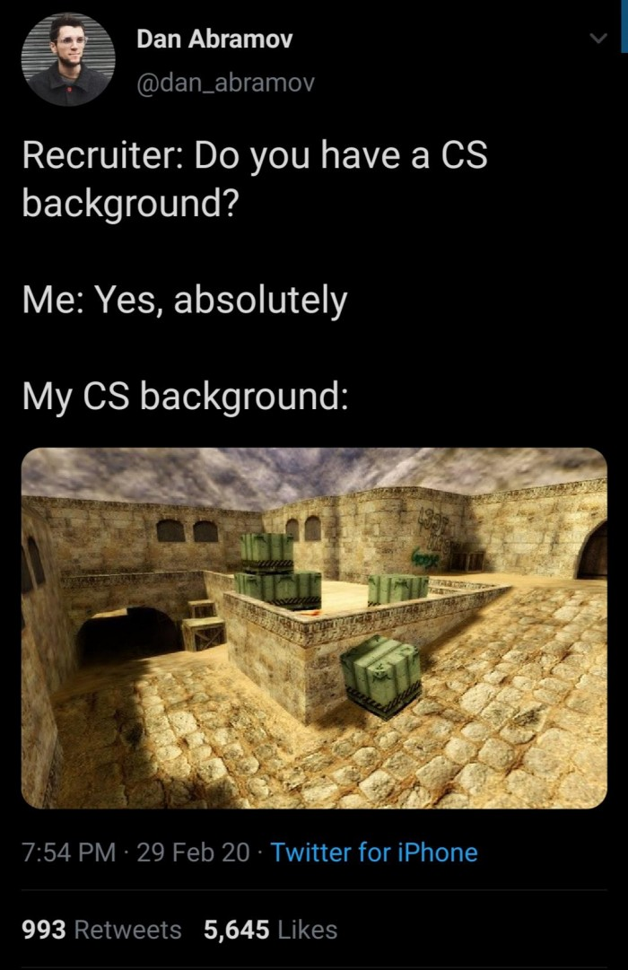 Recruiter: Do you have a CS background?