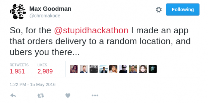 An app which orders takeaway to a random location then orders you an Uber to the destination