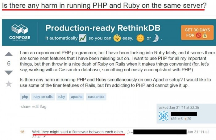 Is there any harm in running PHP and Ruby on the same server?