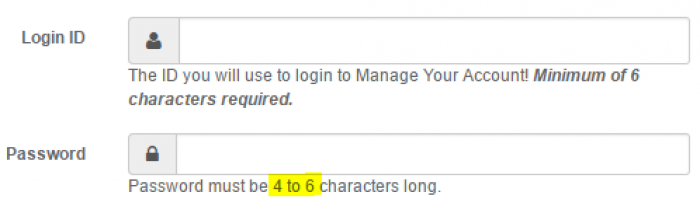 Password must be 4 to 6 characters long