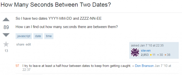 How Many Seconds Between Two Dates?