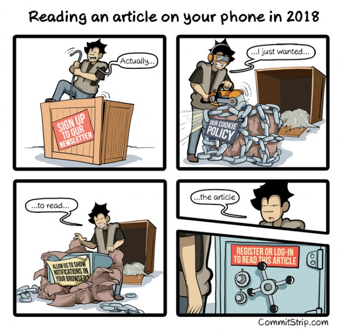 [commitstrip] Reading an article on your phone in 2018