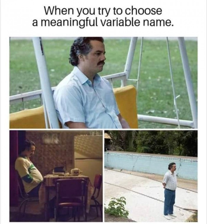When you try to choose a meaningful variable name