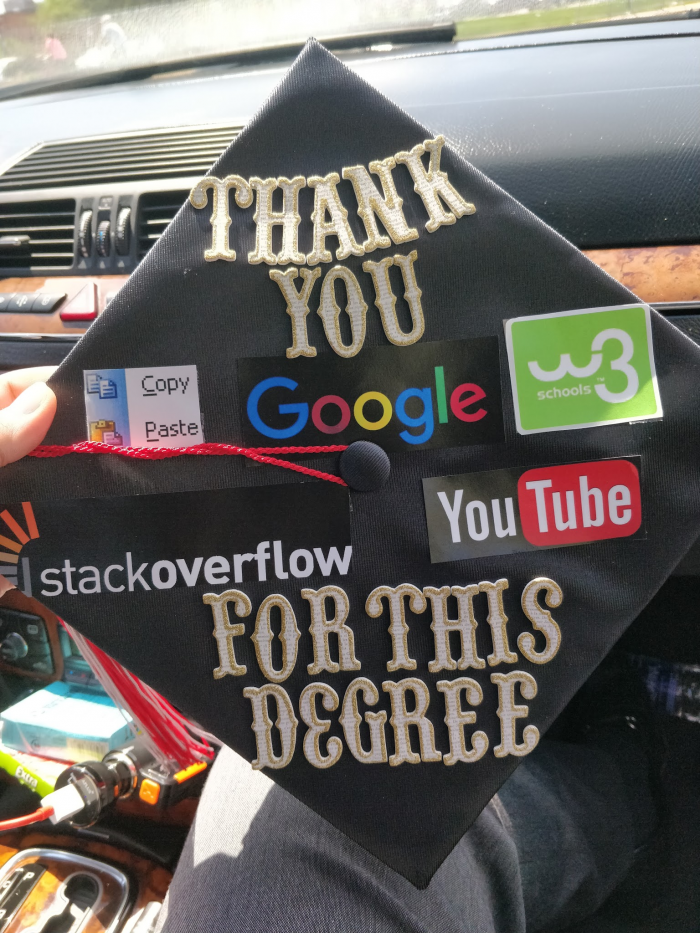 Graduated with a computer science degree this weekend. I decorated my graduation cap.