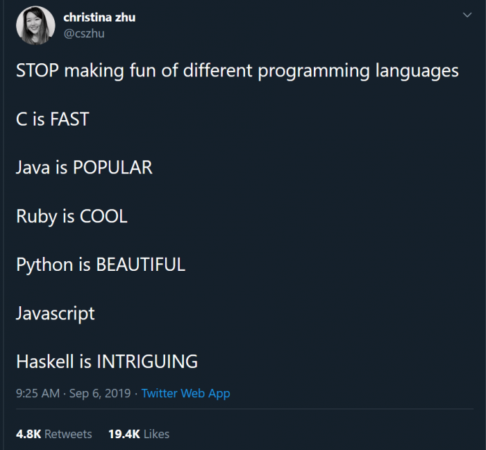 STOP making fun of different programming languages
