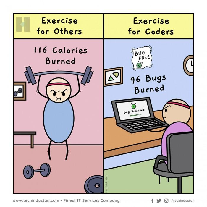 Coders don't burn calories. We burn bugs