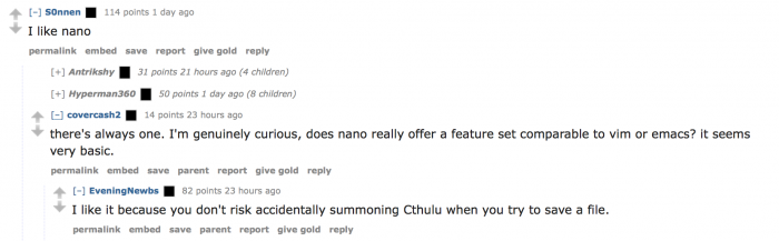 Reasons to use nano and not vim or emacs.